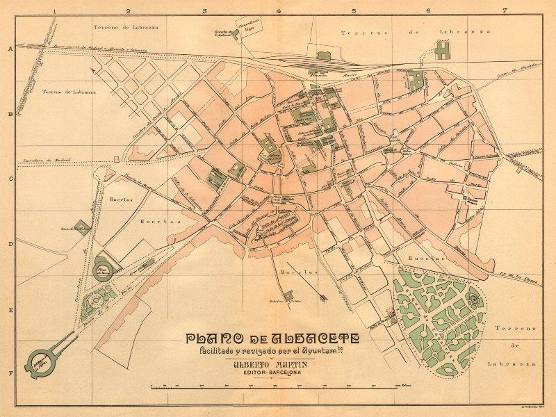 Associate Product ALBACETE. Plano antiguo de la cuidad. Antique town/city plan. MARTIN c1911 map