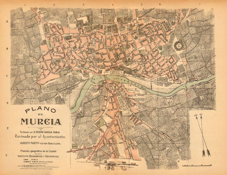 Associate Product MURCIA. Plano antiguo de la cuidad. Antique town/city plan. MARTIN c1911 map