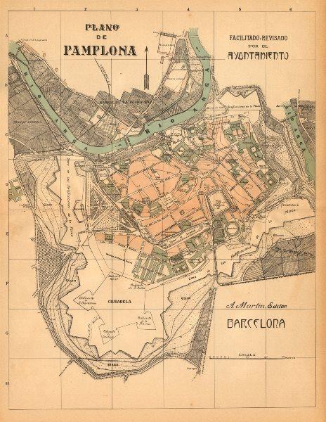 Associate Product PAMPLONA. Plano antiguo de la cuidad. Antique town/city plan. MARTIN c1911 map