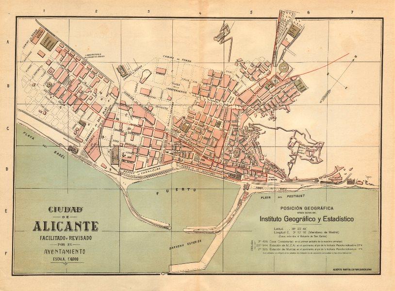 Associate Product ALICANTE Alacant. Plano antiguo cuidad. Antique town/city plan. MARTIN c1911 map