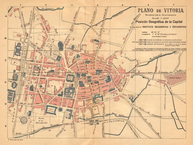 Associate Product VITORIA. Plano antiguo de la cuidad. Antique town/city plan. MARTIN c1911 map