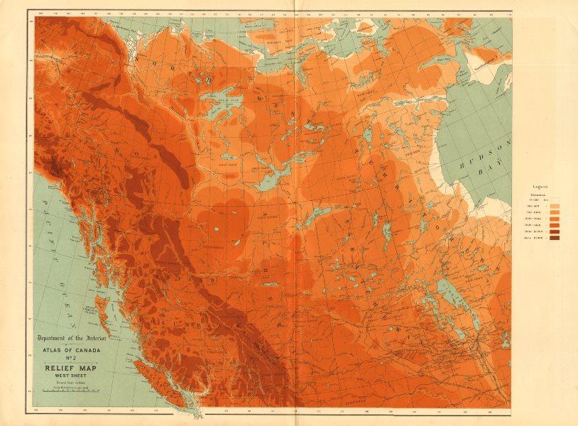 Associate Product WESTERN CANADA relief. British Columbia Alberta Yukon. WHITE 1906 old map