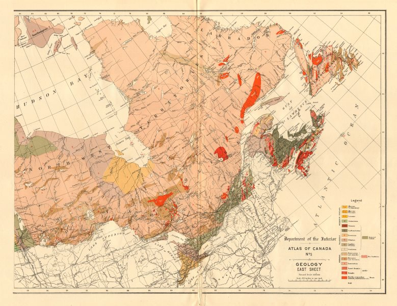 Associate Product EASTERN CANADA GEOLOGY geological. Maritimes Quebec Ontario. WHITE 1906 map