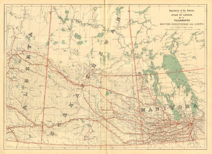Associate Product Manitoba, Saskatchewan and Alberta. TELEGRAPH CABLES. Canada. WHITE 1906 map
