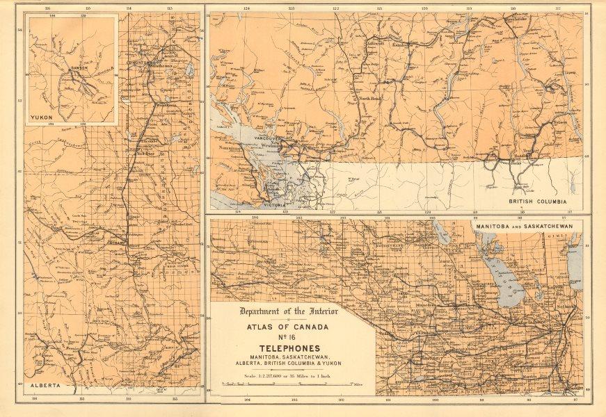 Associate Product CANADA TELEPHONE CABLES. Manitoba SK Alberta British Columbia Yukon 1906 map
