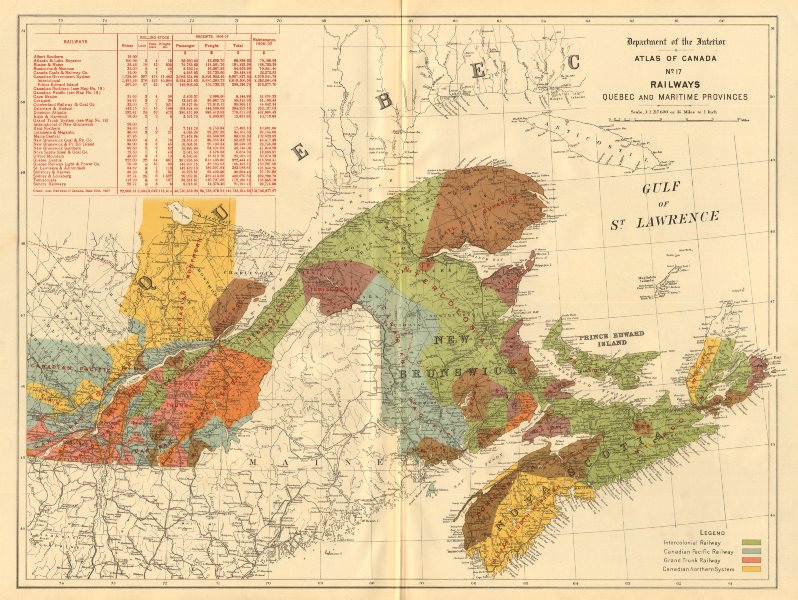 Associate Product CANADA Railways. Quebec/Maritime Provinces. Intercolonial. Grand Trunk 1906 map