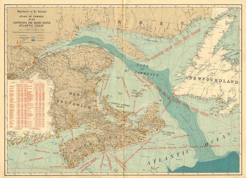 Associate Product CANADA ATLANTIC COAST. Lighthouses and sailing routes. WHITE 1906 old map