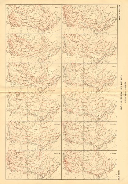 Associate Product CANADA Isotherms for months of the year. Temperature. WHITE 1906 old map