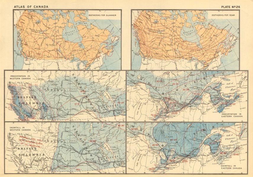 Associate Product CANADA Isotherms. Temperature. Precipitation. Rainfall. Snowfall. WHITE 1906 map