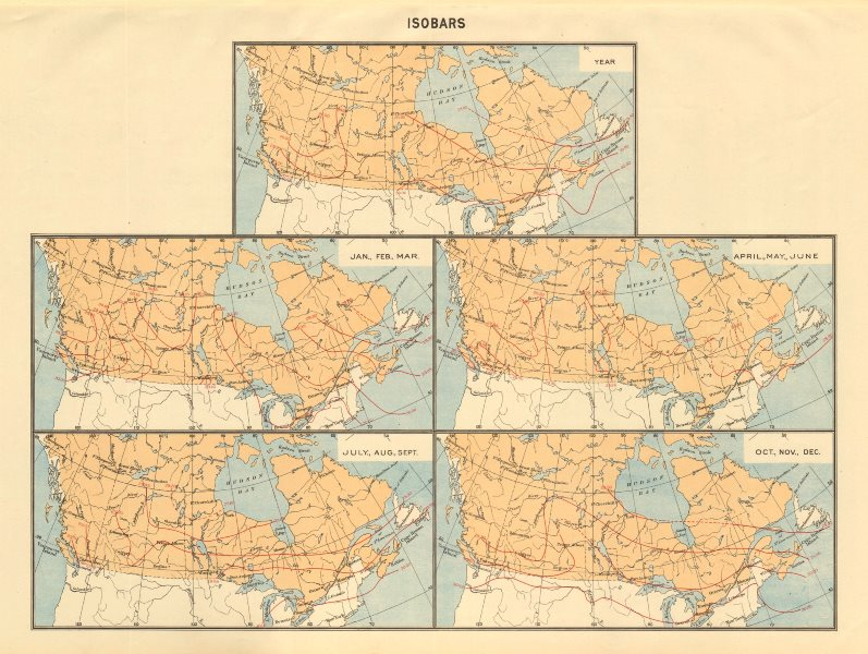 Associate Product CANADA Isobars. WHITE 1906 old antique vintage map plan chart