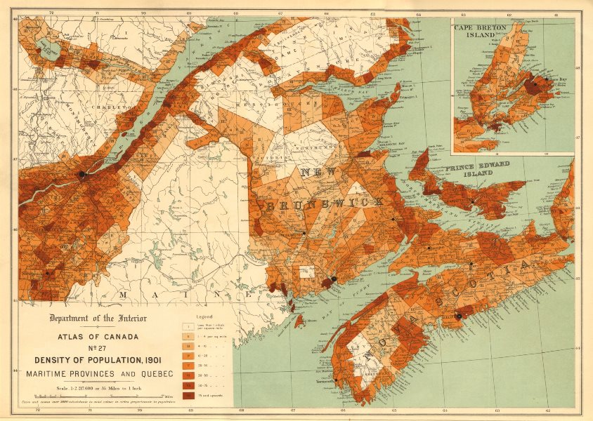 Associate Product CANADA POPULATION DENSITY 1901. Maritime Provinces and Quebec. WHITE 1906 map
