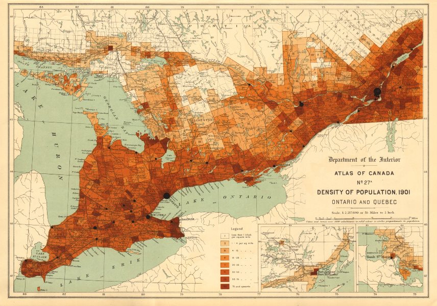 Associate Product CANADA POPULATION DENSITY 1901. Ontario and Quebec. WHITE 1906 old antique map