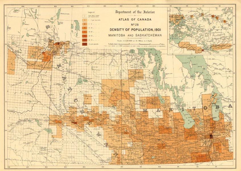 Associate Product CANADA POPULATION DENSITY 1901. Manitoba and Saskatchewan. WHITE 1906 old map