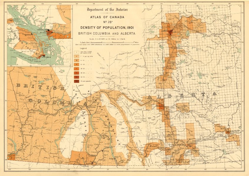 Associate Product CANADA POPULATION DENSITY 1901. British Columbia and Alberta. WHITE 1906 map