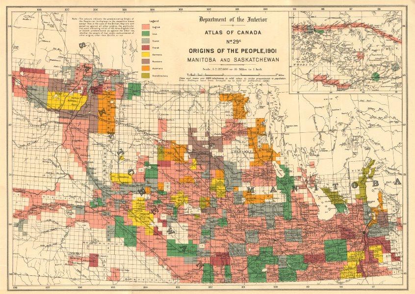 Associate Product CANADA ETHNIC ORIGINS. Manitoba & Saskatchewan. English Irish Scottish 1906 map