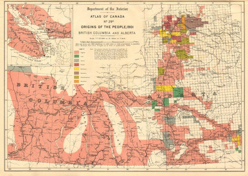 Associate Product CANADA ETHNIC ORIGINS. British Columbia & Alberta. English Irish French 1906 map