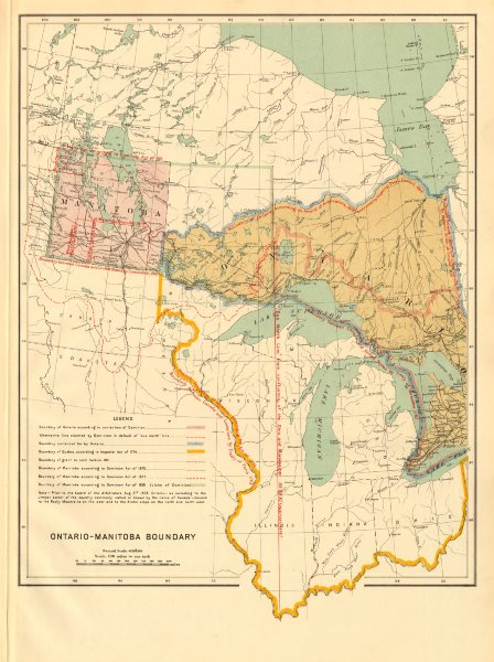 Associate Product ONTARIO-MANITOBA BOUNDARY DISPUTE. Dominion Acts 1870/77/81 Quebec 1774 1906 map