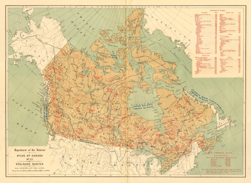 CANADA. Drainage basins. Watersheds. Drainage divides. WHITE 1906 old map