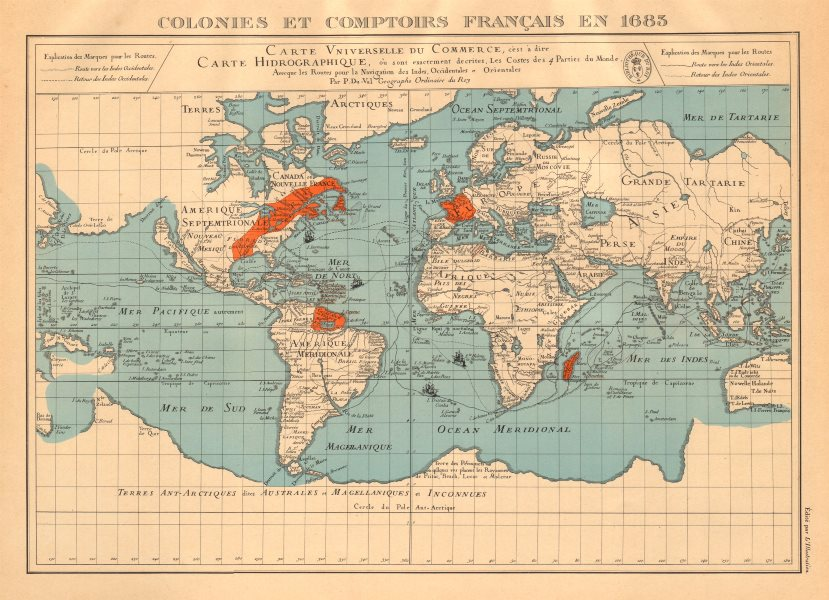 Associate Product FRENCH COLONIES & TRADING POSTS 1683. Colonies et comptoirs Français 1938 map