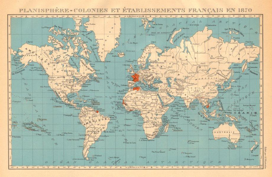 Associate Product FRENCH COLONIES & établissements Français en 1870. Planisphere 1938 old map