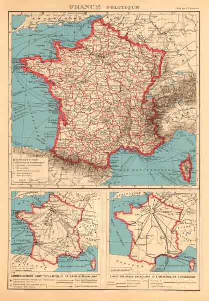 Associate Product FRANCE Communications radiotéléphoniques. Lignes aériennes. Air routes 1938 map