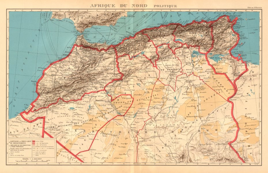 Associate Product COLONIAL FRENCH NORTH AFRICA. Afrique du Nord. Politique. Political 1938 map