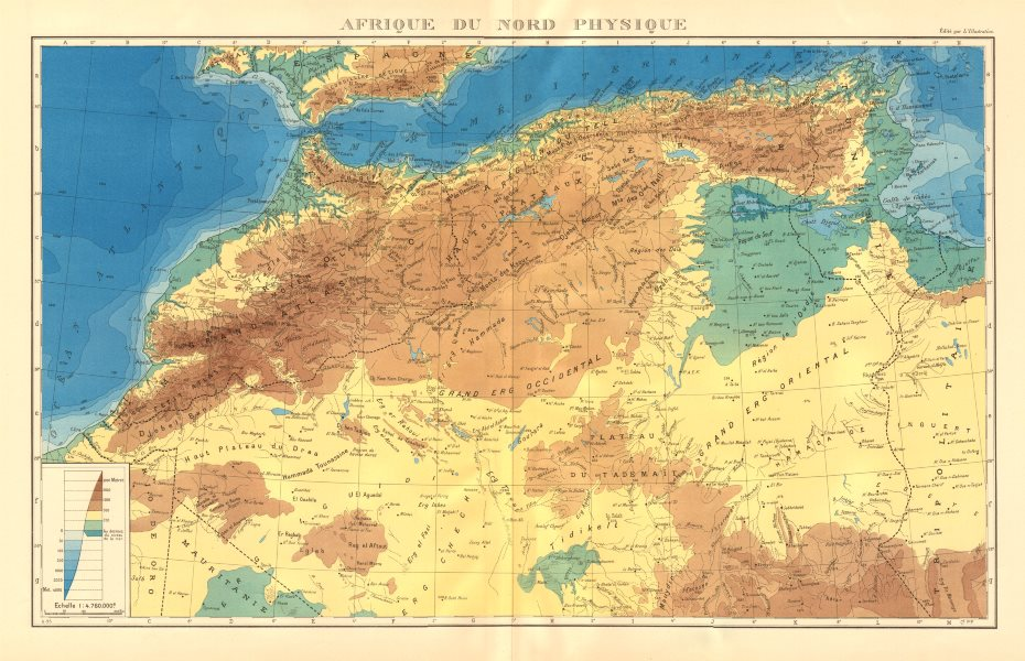 Associate Product COLONIAL FRENCH NORTH AFRICA. Afrique du Nord. Physique. Physical 1938 old map