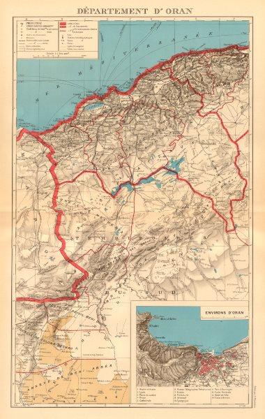 Associate Product FRENCH ALGERIA. Departement d'Oran. Oran environs & city plan 1938 old map