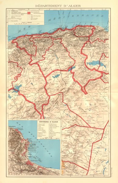 Associate Product FRENCH ALGERIA. Departement d'Alger. Algiers environs & city plan 1938 old map