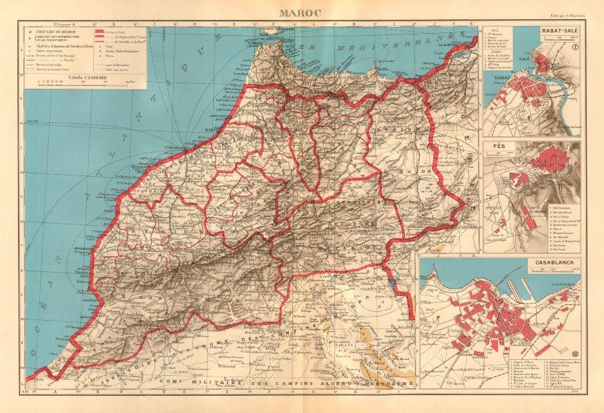 Associate Product FRENCH MOROCCO. Maroc Protectorat français. Rabat Fez Casablanca plans 1938 map