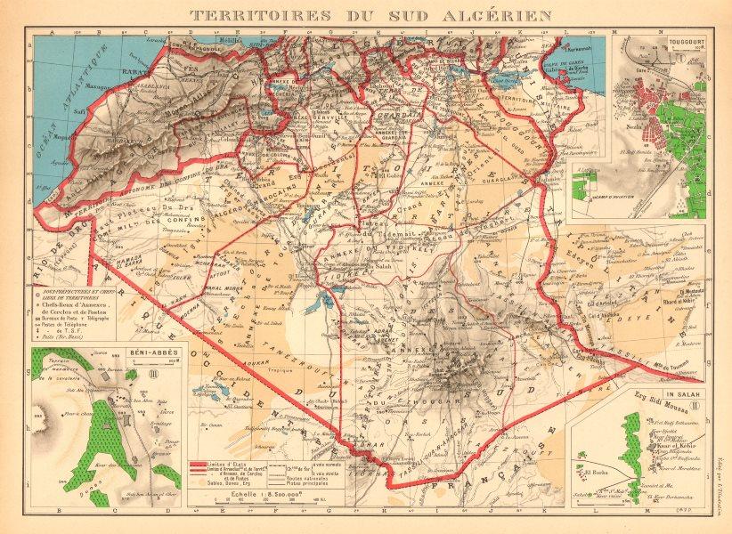 Associate Product FRENCH ALGERIA. Territoires sud Algerien. Béni-Abbès Touggourt In Salah 1938 map