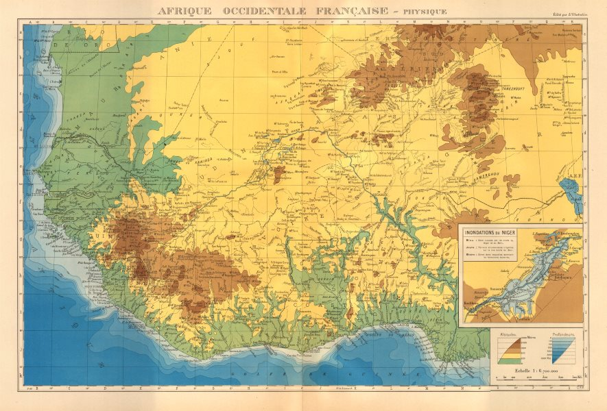 Associate Product FRENCH WEST AFRICA. Afrique Occidentale Française. Plan of Niger floods 1938 map