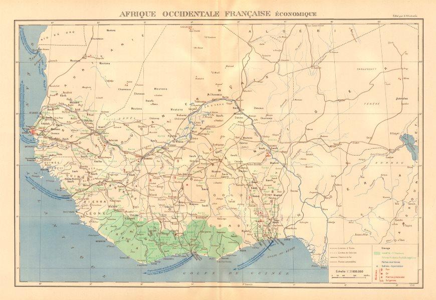 Associate Product FRENCH WEST AFRICA RESOURCES. Afrique Occidentale Française economique 1938 map