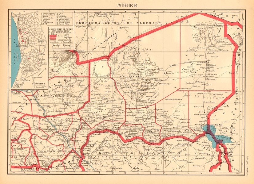 Associate Product COLONIAL NIGER. Niamey city plan de la ville. French West Africa 1938 old map