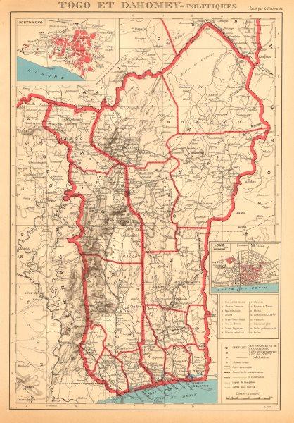 Associate Product COLONIAL TOGO & BENIN (Dahomey). Porto Novo & Lomé city ville plans 1938 map