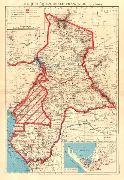 Associate Product FRENCH EQUATORIAL AFRICA. Afrique équatoriale française.  Pointe Noire 1938 map