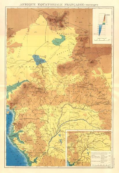 Associate Product FRENCH EQUATORIAL AFRICA Afrique équatoriale française.Navigable rivers 1938 map