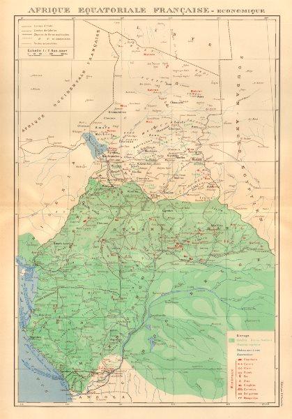 Associate Product FRENCH EQUATORIAL AFRICA. Afrique équatoriale française. Resources 1938 map