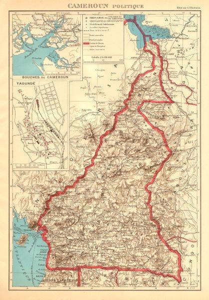 Associate Product COLONIAL CAMEROON/Cameroun. Yaoundé plan. Afrique équatoriale française 1938 map