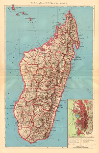 Associate Product COLONIAL MADAGASCAR. Tananarive/Antananarivo city plan. Comoros Mayotte 1938 map