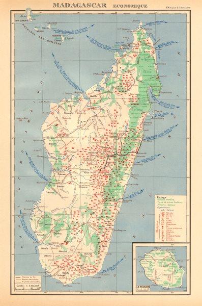 Associate Product COLONIAL MADAGASCAR RESOURCES. Minerals Economique. Inset La Réunion 1938 map