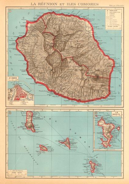 FRENCH INDIAN OCEAN ISLANDS La Réunion Comores/Comoros Mayotte St Denis 1938 map