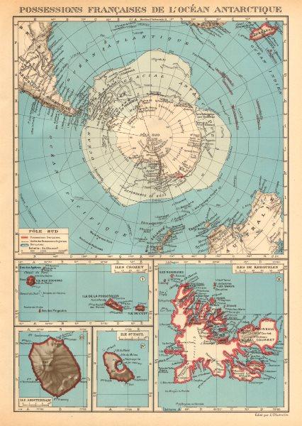 Associate Product FRENCH ANTARCTIC Terres australes françaises Crozet Amsterdam Kerguelen 1938 map
