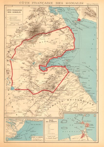 Associate Product FRENCH SOMALILAND. Cote Française des Somalis. Obok & DJIBOUTI plans 1938 map