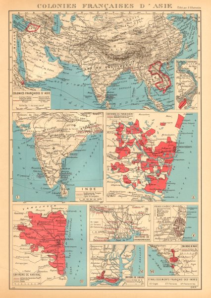 Associate Product FRENCH INDIA Indes français Pondichéry Karikal Yanaon Chandernagor Mahé 1938 map