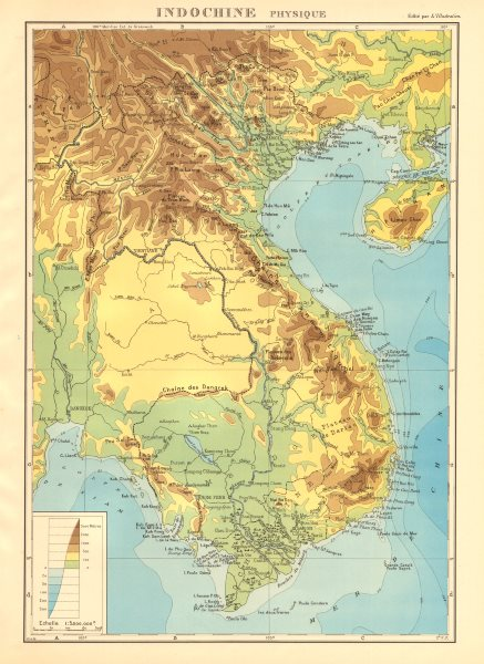 Associate Product COLONIAL FRENCH INDOCHINA. Indochine française. Physique. Physical 1938 map