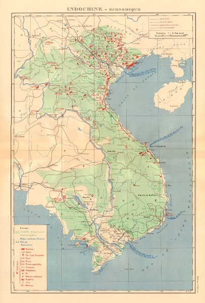 Associate Product COLONIAL FRENCH INDOCHINA. Indochine française. Economique. Economic 1938 map