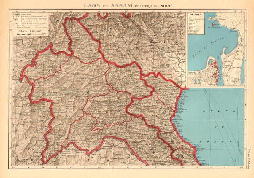 Associate Product FRENCH INDOCHINA. N Laos & Annam. Vietnam. Tourane (Da Nang) city plan 1938 map