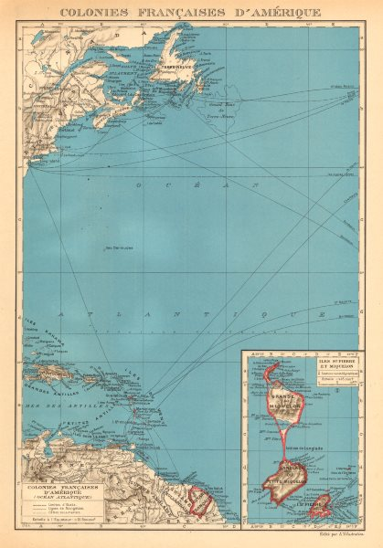 Associate Product FRENCH AMERICAS. Colonies Françaises d' Amerique. St-Pierre et Miquelon 1938 map