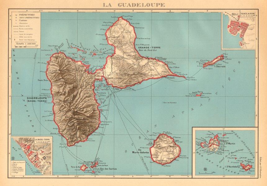 GUADELOUPE. Basse-Terre; Pointe-à-Pitre. St-Martin Saint-Barthélemy 1938 map